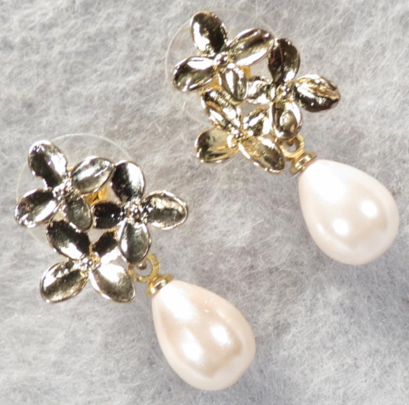 KYOTO Cherry Blossoms Pink Shell Pearl Earrings Gold Tone
