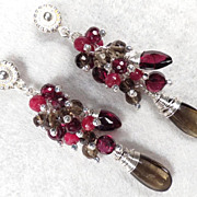 ROSE BERRIES Earrings Ruby Garnet Smoky Quartz Silver