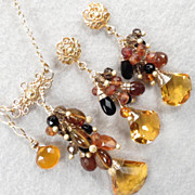 SALE Caterina The Tigress Earrings Amber Tourmaline Hessonite Garnet Black Onyx Citrine Quartz