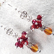 Lady Fireheart Earrings Amber Carnelian Garnet Silver Medieval Style