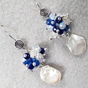 Arianrhod of the Silver Wheel Earrings Moonstone Cultured Keishi Pearl Crystal  Silver