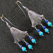 GODDESS ISIS Earrings Lapis Turquoise Lotus Flowers Silver