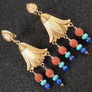 GODDESS ISIS Earrings Lapis Magnesite Turquoise Ancient Egyptian Style 24K GV
