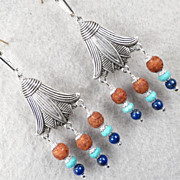 GODDESS ISIS Earrings Lapis Magnesite Turquoise Ancient Egyptian Style