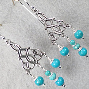 The Edge of the Gobi Earrings Mongolian Turquoise Silver