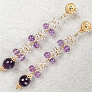 SOLD Anne Boleyn Wears Purple - Tudor Renaissance Style Earrings Amethyst 24K GV