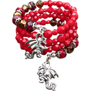 FIREDRAKE Medieval Style Coil Bracelet Scarlet Bronze Czech Glass