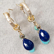 GODDESS ISIS Earrings Lapis Magnesite Turquoise Briolette Hoops 14K GF