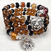 Caterina The Tigress Coil Bracelet Baltic Amber Jet & Tawny Crystal Renaissance Style