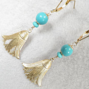 GODDESS ISIS Earrings Magnesite Turquoise Lotus Flowers Ancient Egyptian Style