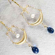 SOLD Christine De Pisan Earrings Sapphire-Quartz Glass Cultured Pearl Medieval Style