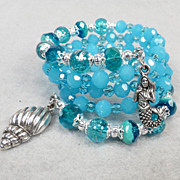 YEMAYA Coil Bracelet Czech Art Glass Crystal Ancient African Sea Goddess