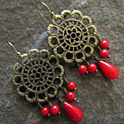 ALIENA Earrings Red Bamboo Coral Bronze Cathedral Windows Medieval Style