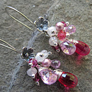 NAHEMA Earrings Rubellite-Color Cubic Zirconia Moonstone Crystal