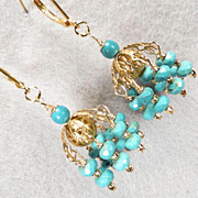 Jhumka Earrings 2 Magnesite Turquoise 14K GF Indian Style