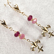 Isabella Longs For Love Earrings Ruby Rhodolite Garnet 24K GV Medieval Style