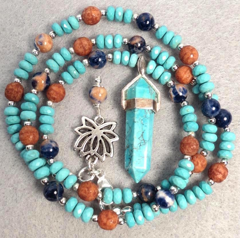 Turquoise Pendant Sodalite 'Terra Cotta' Glass Ancient Egyptian Style