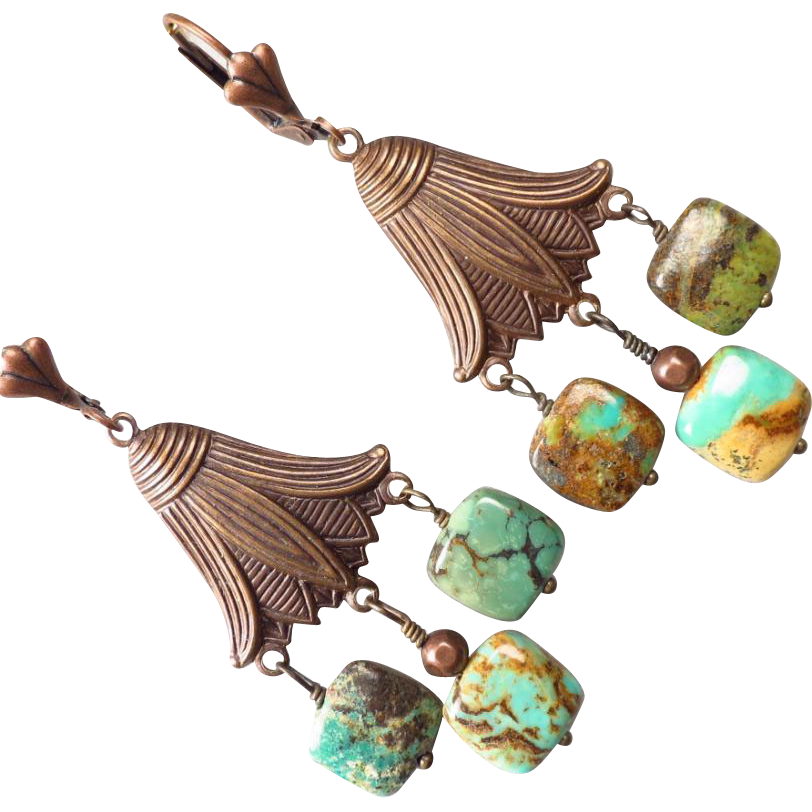 Mongolian Turquoise Copper Bronze Ancient from strega2 on Ruby Lane