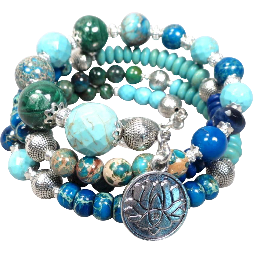 GODDESS ISIS Coil Bracelet Turquoise Malachite Chrysocolla Agate from
