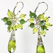 Guinevere In Spring Earrings Green Cubic Zirconia Nephrite Jade Silver Medieval Style