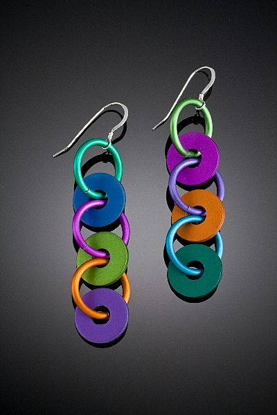 Anodized Aluminum Triple Washer Earrings