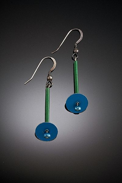 Anodized aluminum long spring and disc earrings from