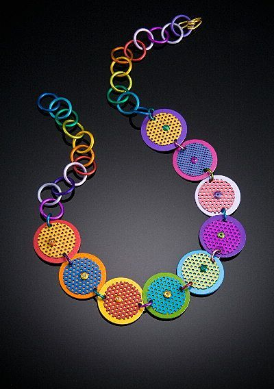 Anodized aluminum medium double disc necklaces from