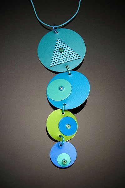 Anodized aluminum four disc drop necklaces from