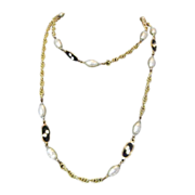 Vintage Signed Haskell Necklace with Baroque Pearls and Black Enameled Oval Pendants