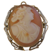 `14K Framed Cameo with Cultured Seed Pearl Surround