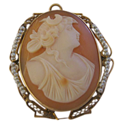 SALE `14K Framed Cameo with Cultured Seed Pearl Surround