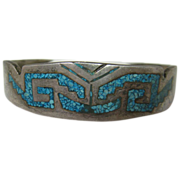 SALE Mexican Sterling Bracelet inlaid with Turquoise