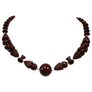 REDUCED Vintage Cinnamon Glass with Unique Beads