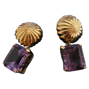 Vintage 14K Yellow Gold Clip On Earrings with Emerald Cut Amethysts