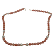 SALE 5 MM Pink Coral and Pearl Necklace with 14 Karat Yellow Gold Clasp