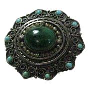 935 Silver Pin/Pendant With Malachite Center Stone Made In Israel