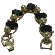 SALE Vintage Juliana Five Segment Bracelet with Black Glass Stones