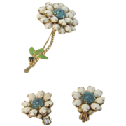 Vintage Weiss Summer Flower Pin and Earrings