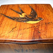 Stamp Box-Circa 1880-1890 Inlaid Bird and signed