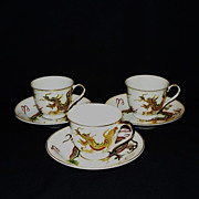 Sunray China Kutani Dragon Demitasse Tea Cups and Saucers