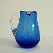 SALE Pilgrim Cobalt Blue Left-Handed Crackle Glass Pitcher