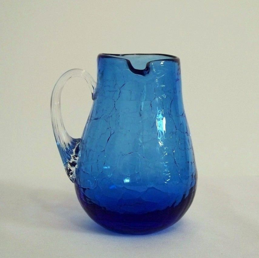Pilgrim Cobalt Blue Left-Handed Crackle Glass Pitcher