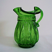 SALE Kanawha Melon Ribbed Green Glass Pitcher