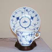 Royal Copenhagen Blue Fluted Demi Cup and Saucer