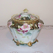 SALE Hand Painted Nippon Biscuit Cracker Jar with Gold Moriage