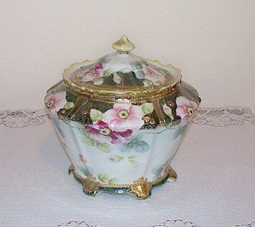 Hand Painted Nippon Biscuit Cracker Jar with Gold Moriage
