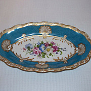 P K Silesia Relish Dish - Flowers and Mottled Blue - Hand Painted and Signed