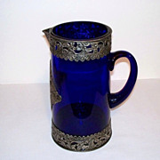 Cobalt Blue Glass Pitcher Vase with Hand-Tooled Aluminum Overlay