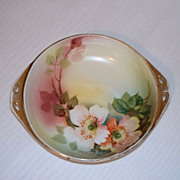 Hand Painted Poppies Nippon Morimura Handled Dish