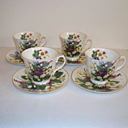 Crown Victorian Violets Teacups and Saucers